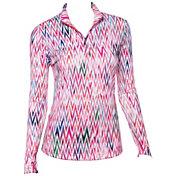 EP Pro Women's Long Sleeve Textured Mock Zip Golf Polo