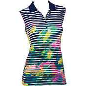 EP Pro Women's Sleeveless Watercolor Stripe Print Golf Polo