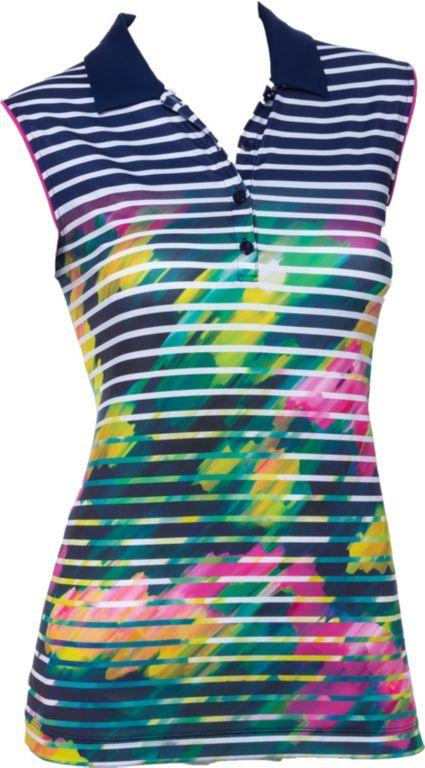 EP Pro Women's Sleeveless Watercolor Stripe Print Golf Polo