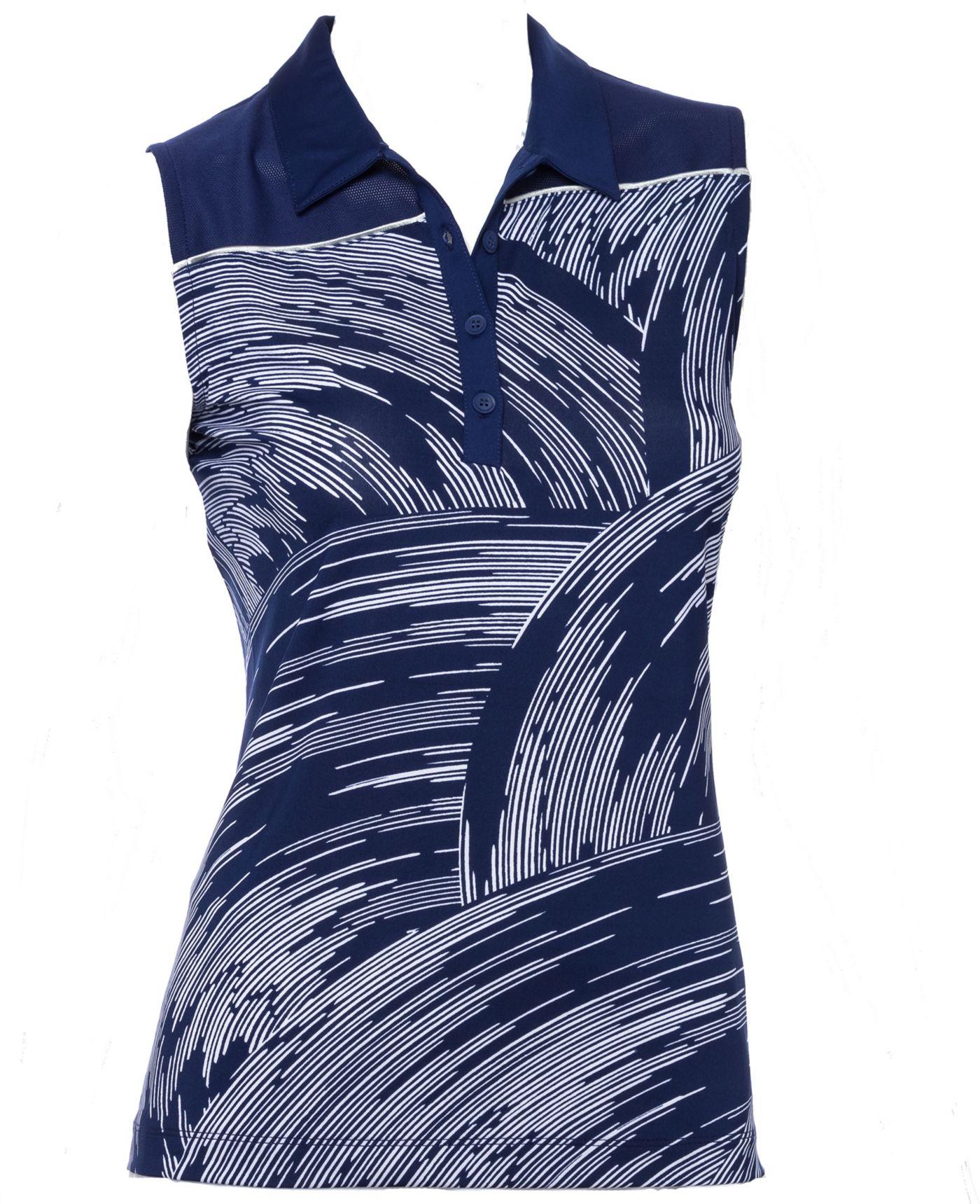 EP Pro Women's Sleeveless Swirl Print Golf Polo