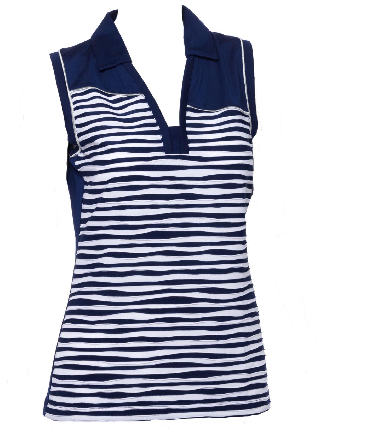 EP Pro Women's Sleeveless Textured Stripe Print Golf Polo