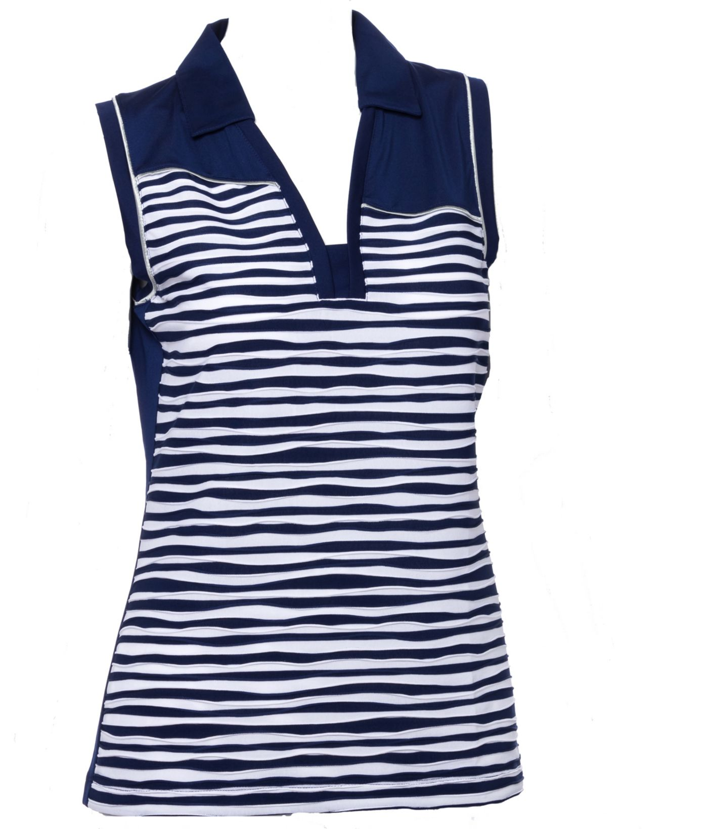 EP Pro Women's Sleeveless Textured Stripe Print Golf Polo