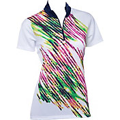 EP Pro Women's Short Sleeve Watercolor Spray Print Golf Polo