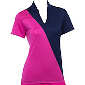 EP Pro Women's Short Sleeve Diagonal Blocked Golf Polo