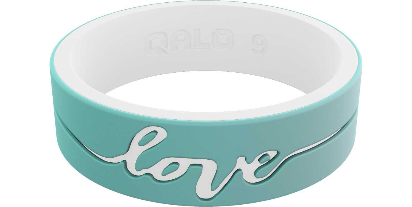 QALO Women's Strata Mint and White Love Silicone Ring
