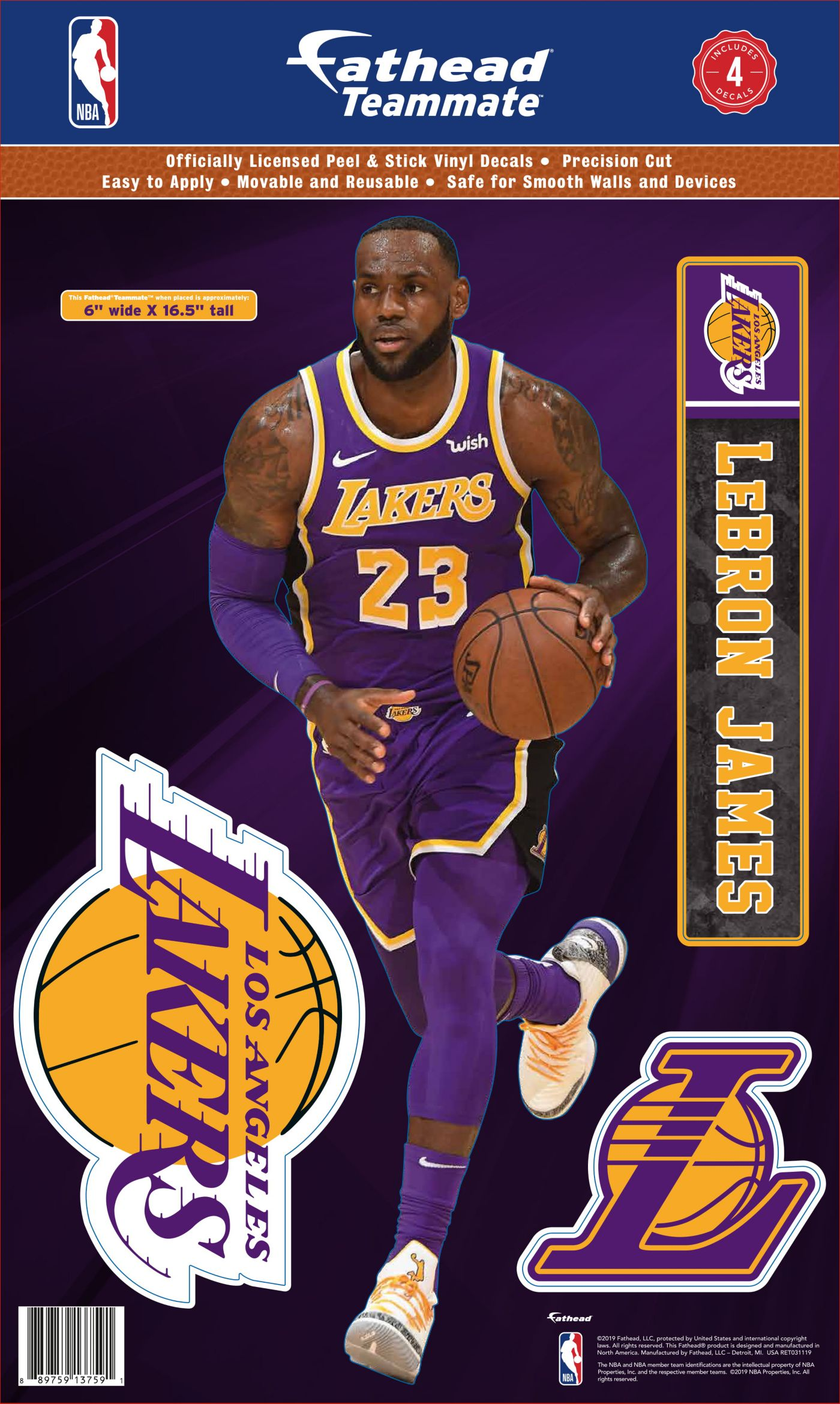 Fathead Los Angeles Lakers LeBron James Teammate Wall Decal