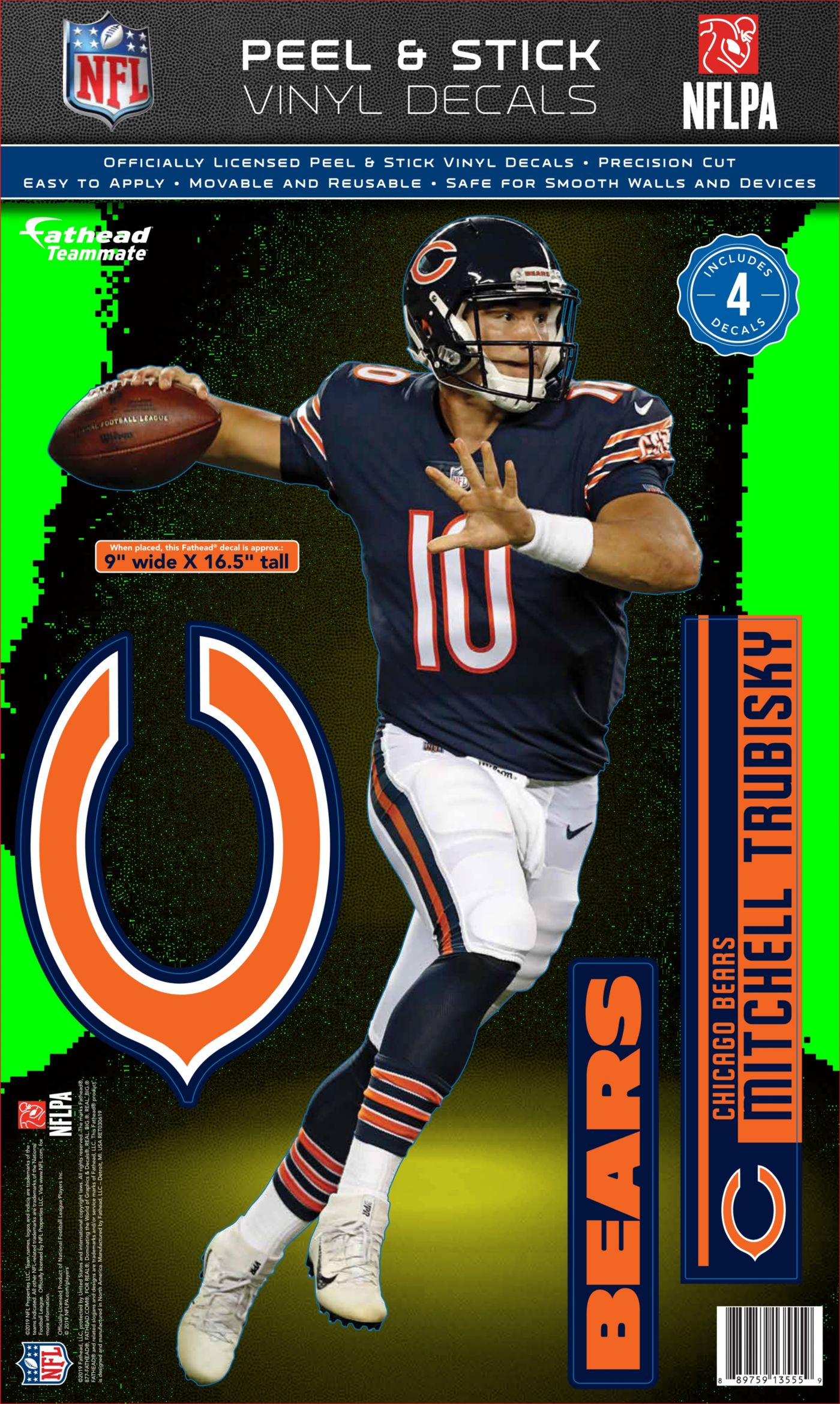 Fathead Chicago Bears Mitch Trubisky Teammate Wall Decal