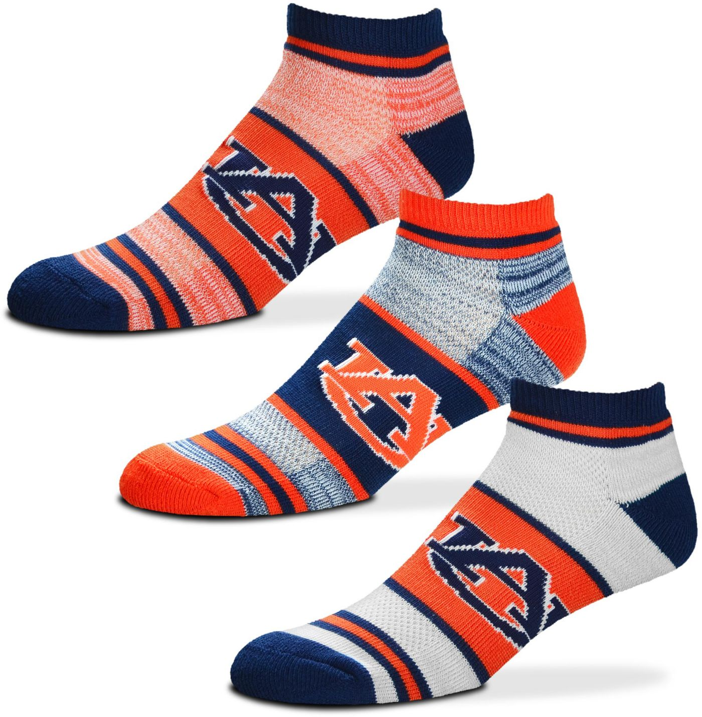 For Bare Feet Auburn Tigers 3 Pack Socks