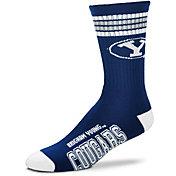 For Bare Feet BYU Cougars 4-Stripe Deuce Crew Socks