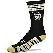 For Bare Feet UCF Golden Knights  4-Stripe Deuce Crew Socks