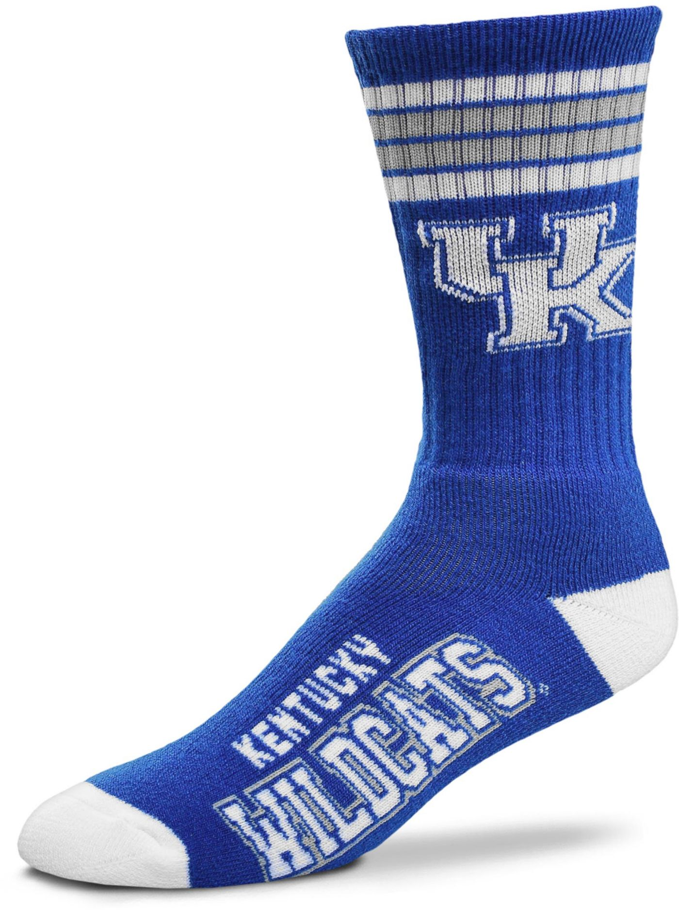 For Bare Feet Kentucky Wildcats 4-Stripe Deuce Crew Socks