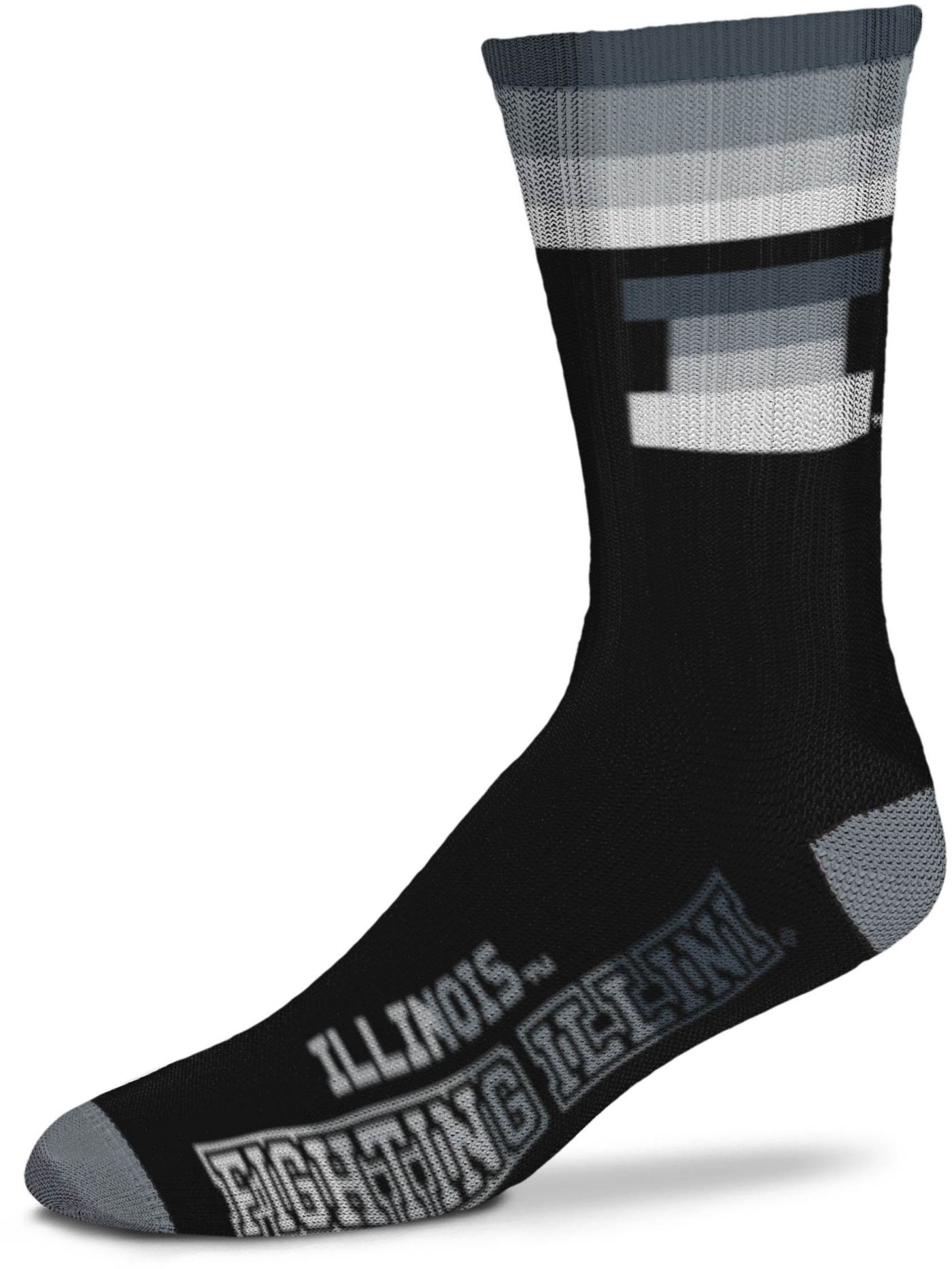 For Bare Feet Illinois Fighting Illini Platinum Crew Socks