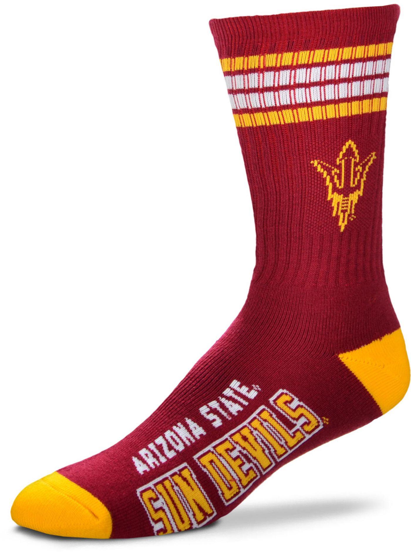 For Bare Feet Arizona State Sun Devils 4-Stripe Deuce Crew Socks