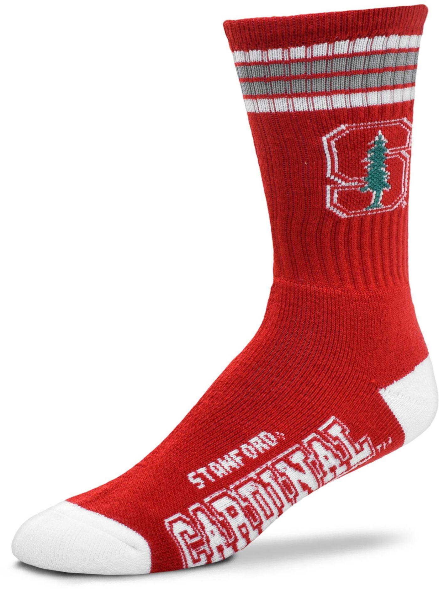 For Bare Feet Stanford Cardinal 4-Stripe Deuce Crew Socks