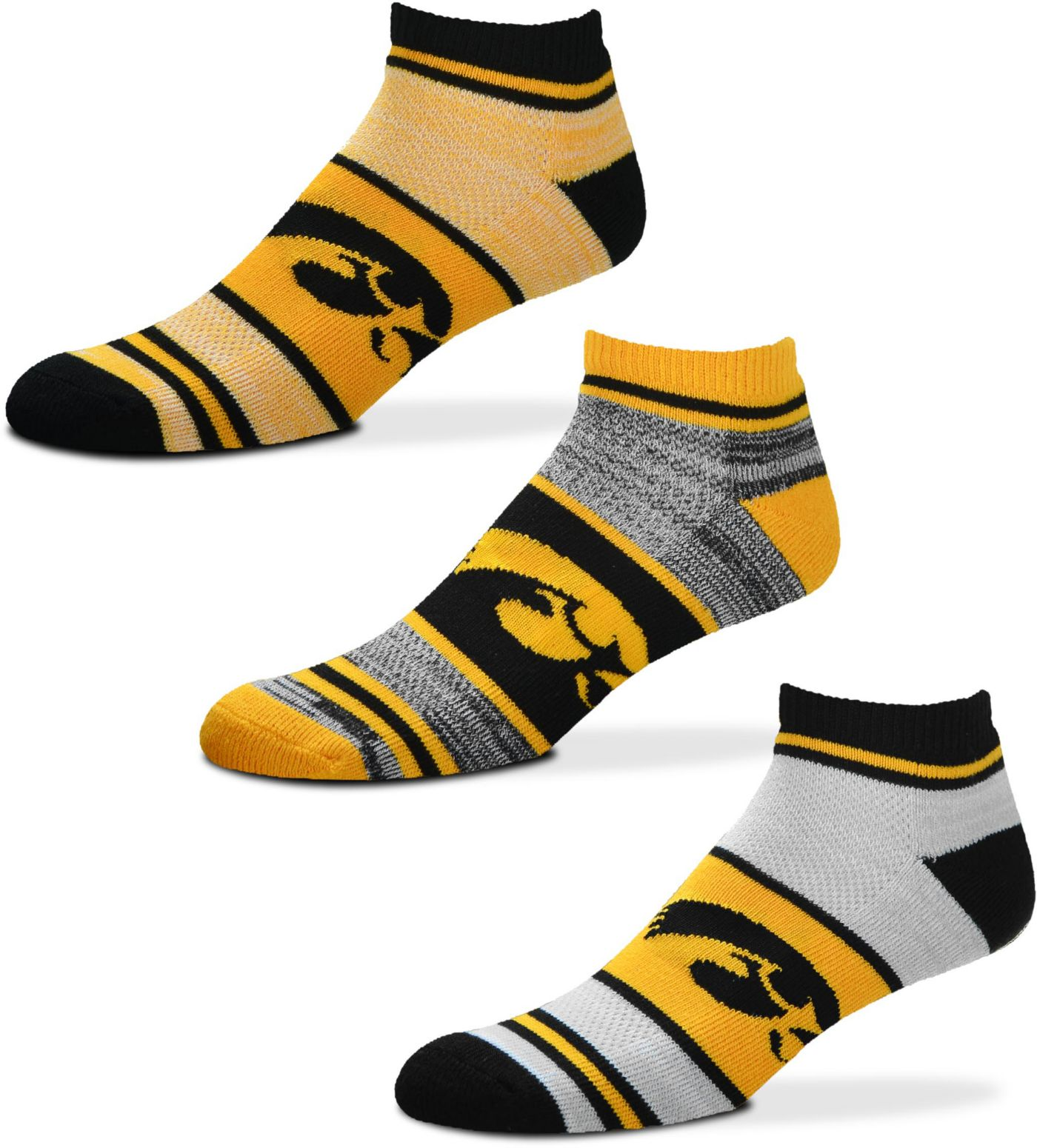 For Bare Feet Iowa Hawkeyes 3 Pack Socks