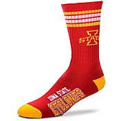 For Bare Feet Iowa State Cyclones 4-Stripe Deuce Crew Socks