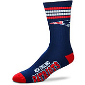 For Bare Feet New England Patriots 4-Stripe Deuce Socks