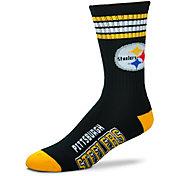 For Bare Feet Pittsburgh Steelers 4-Stripe Deuce Socks