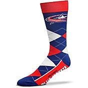 For Bare Feet Columbus Blue Jackets Argyle Crew Socks