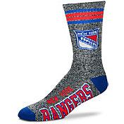 For Bare Feet New York Rangers Marbled Four Stripe Deuce Socks
