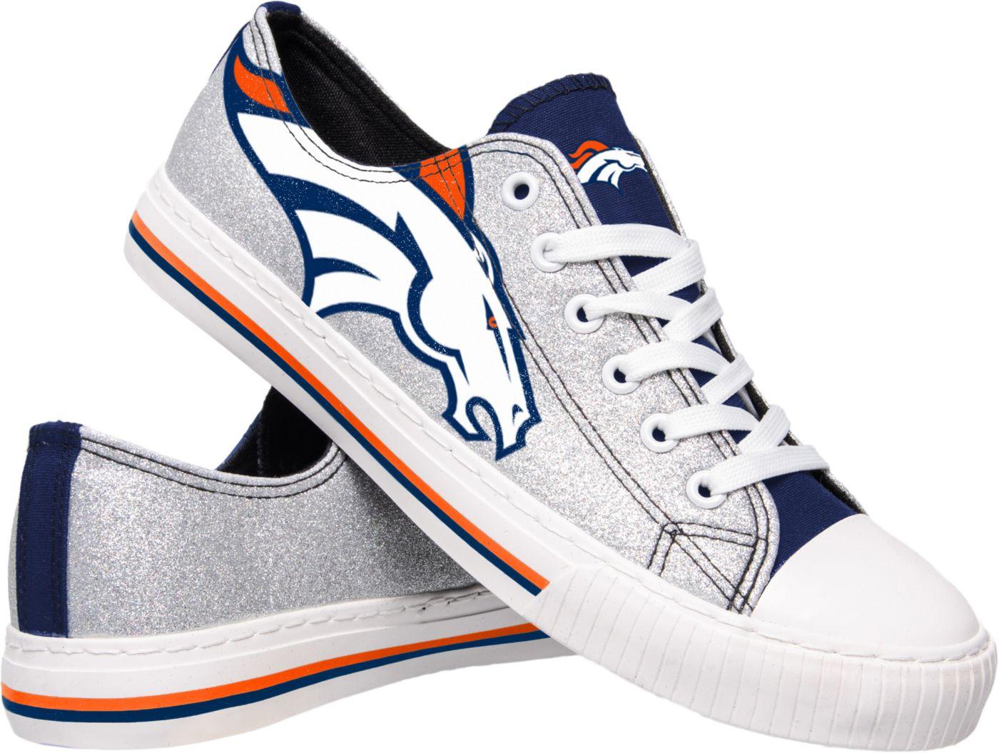 FOCO Denver Broncos Women's Glitter Canvas Shoes
