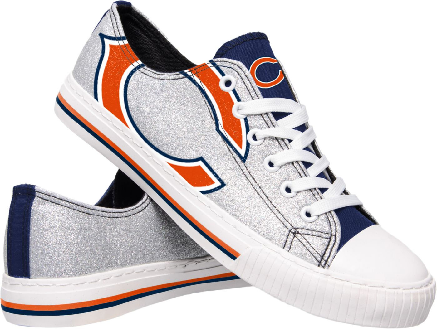 FOCO Chicago Bears Women's Glitter Canvas Shoes