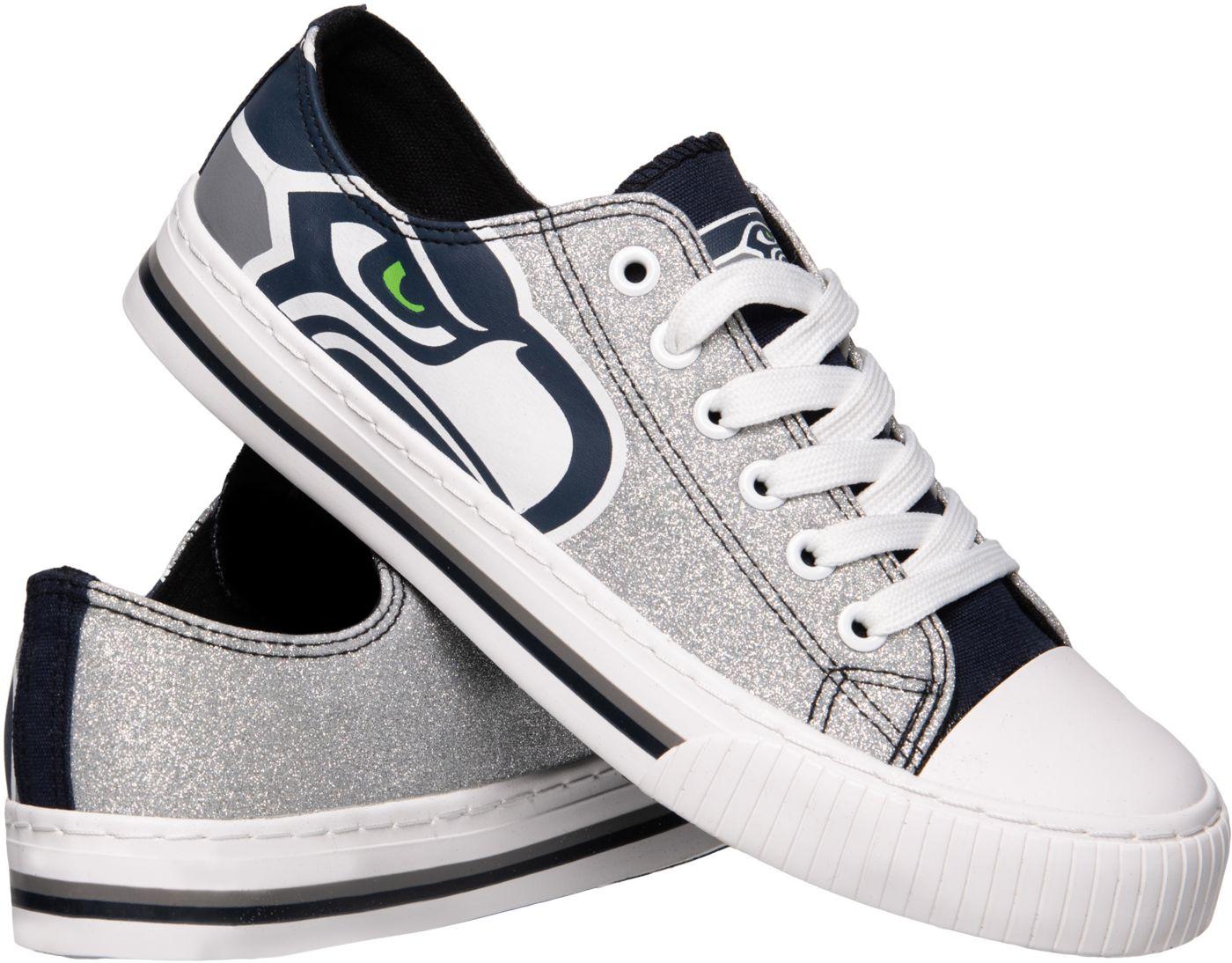 FOCO Seattle Seahawks Women's Glitter Canvas Shoes
