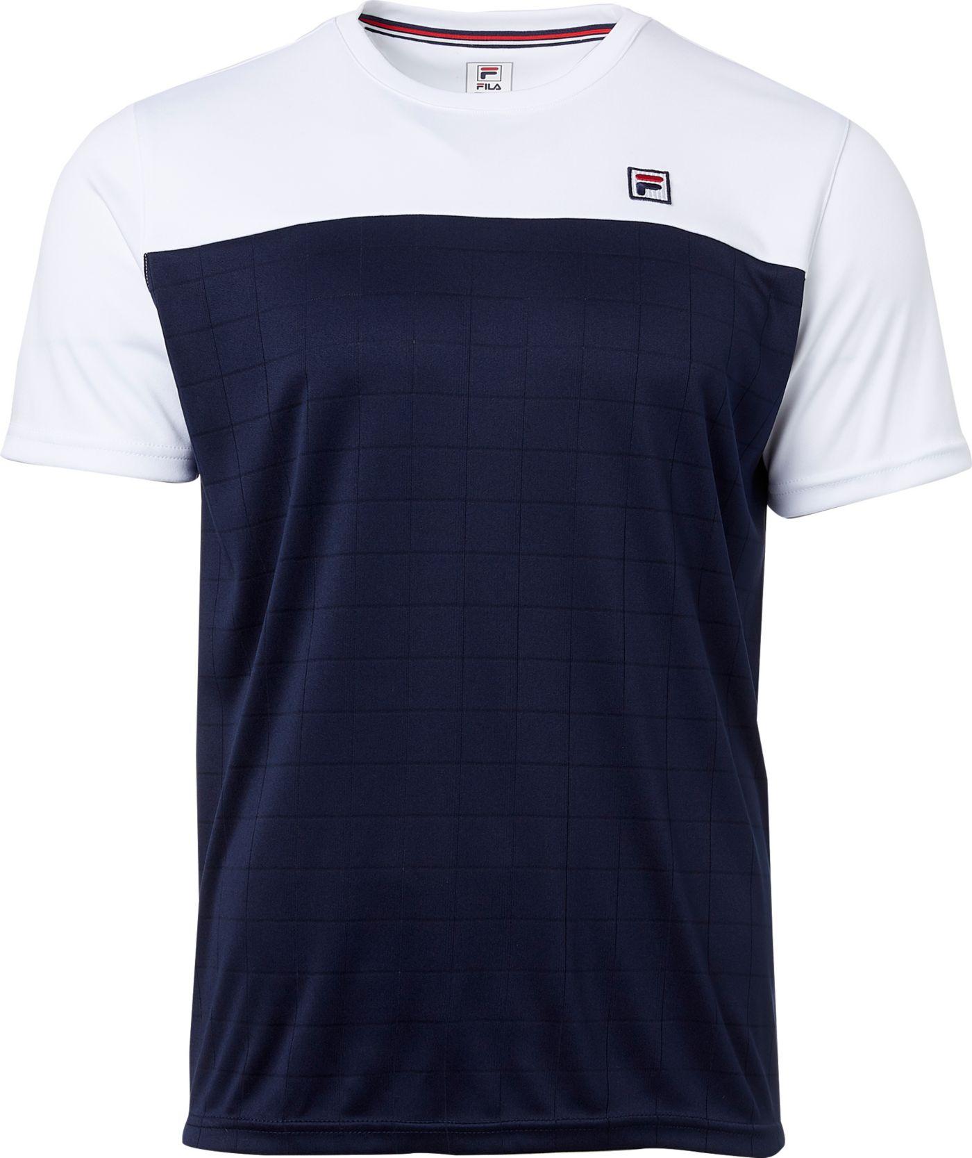 FILA Men's Heritage Grid Crew Tennis T-Shirt