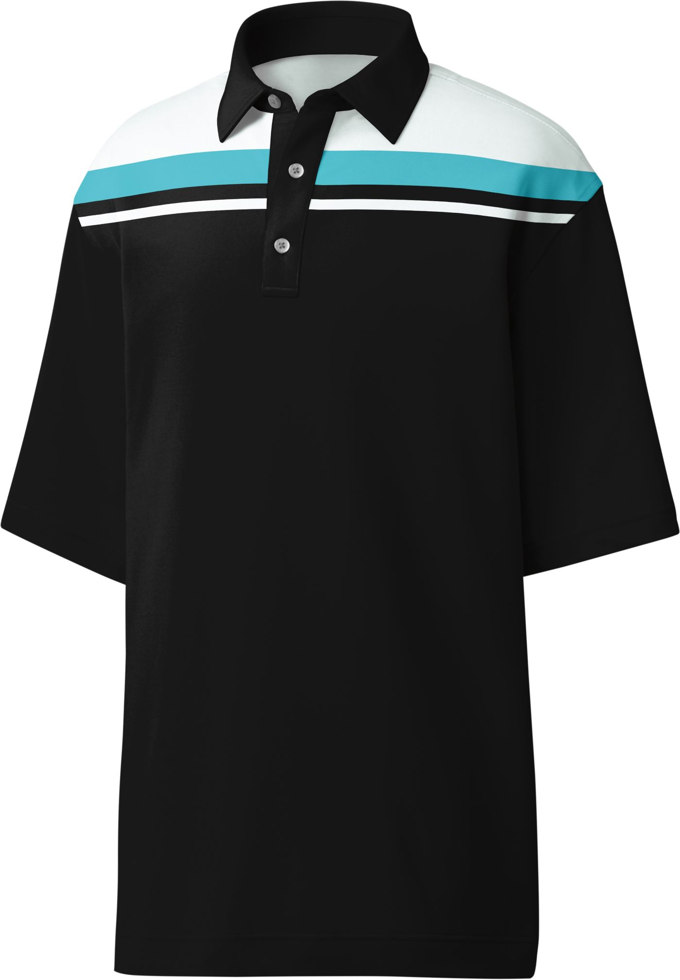 FootJoy Men's Color Block Chest Stripe Golf Polo