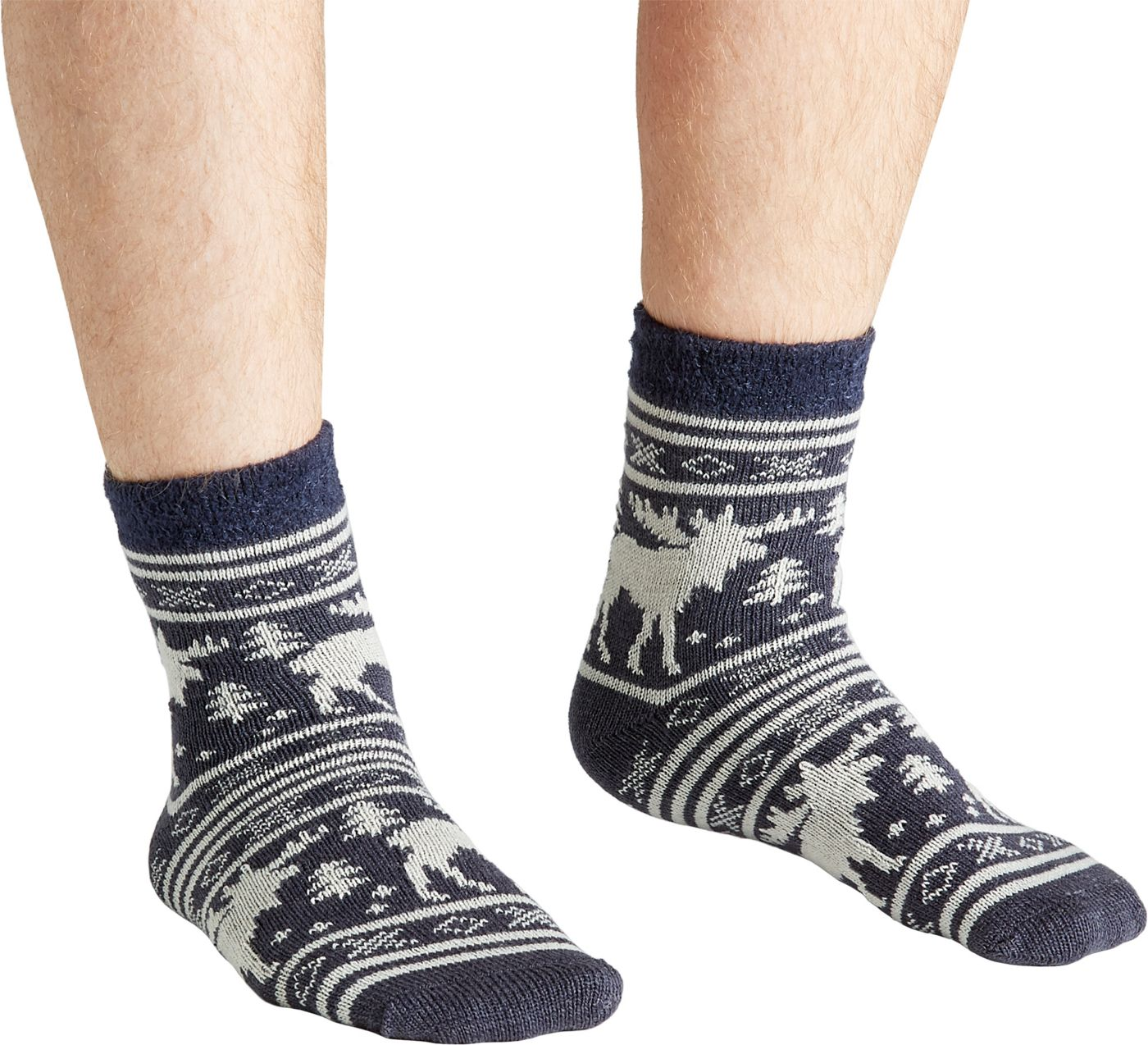 Field & Stream Men's Cozy Cabin Moose Stripe Socks