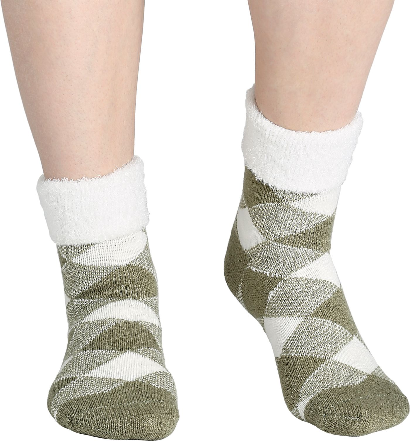 Field & Stream Women's Cozy Cabin Buff Check Fold Socks