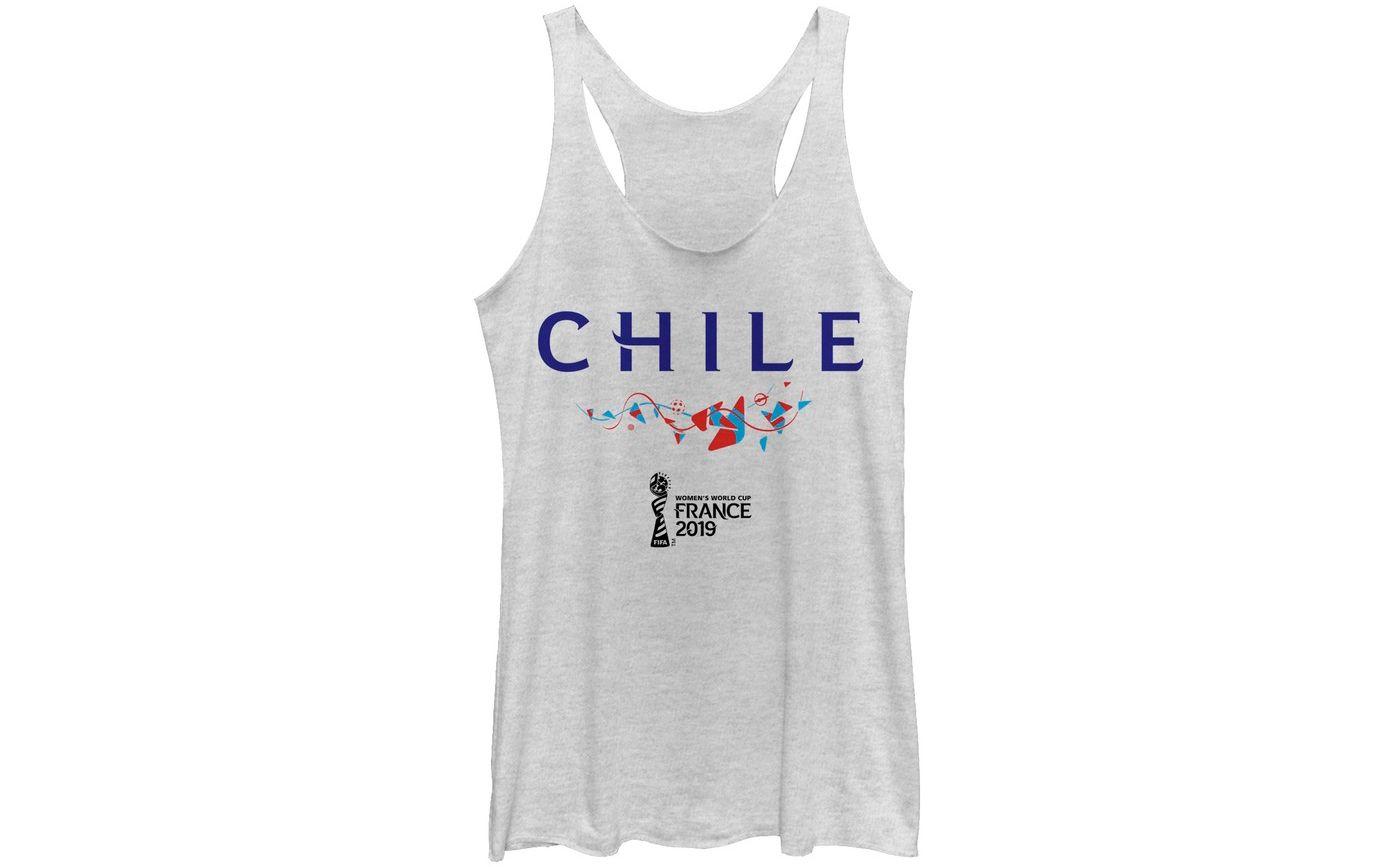 Fifth Sun Women's 2019 Women's FIFA World Cup Chile Graphic White Racerback Tank Top