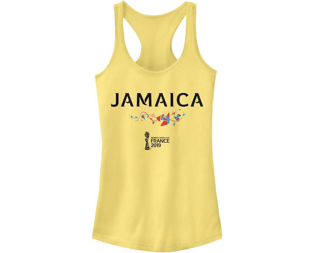 sports shoes 1dd43 3a25b Fifth Sun Women's 2019 Women's FIFA World Cup Jamaica Graphic Yellow  Racerback Tank Top