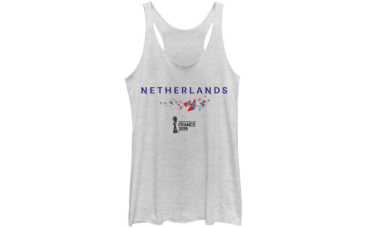Fifth Sun Women's 2019 Women's FIFA World Cup Netherlands Graphic White Racerback Tank Top