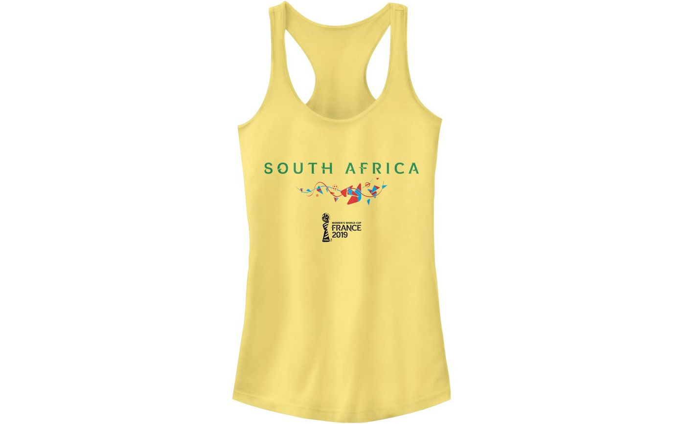 Fifth Sun Women's 2019 Women's FIFA World Cup South Africa Graphic Yellow Racerback Tank Top