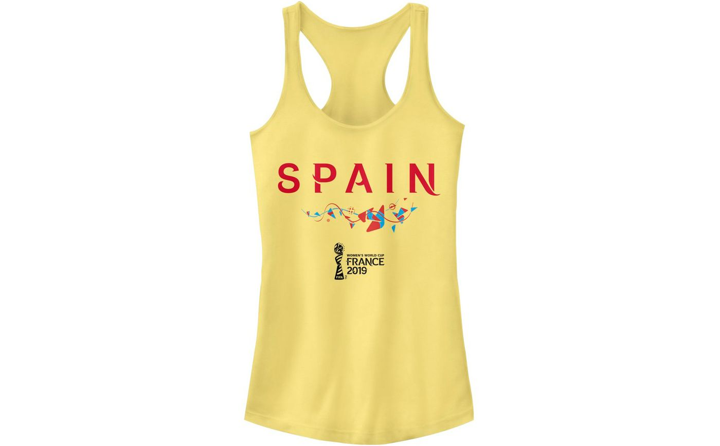 Fifth Sun Women's 2019 Women's FIFA World Cup Spain Graphic Yellow Racerback Tank Top