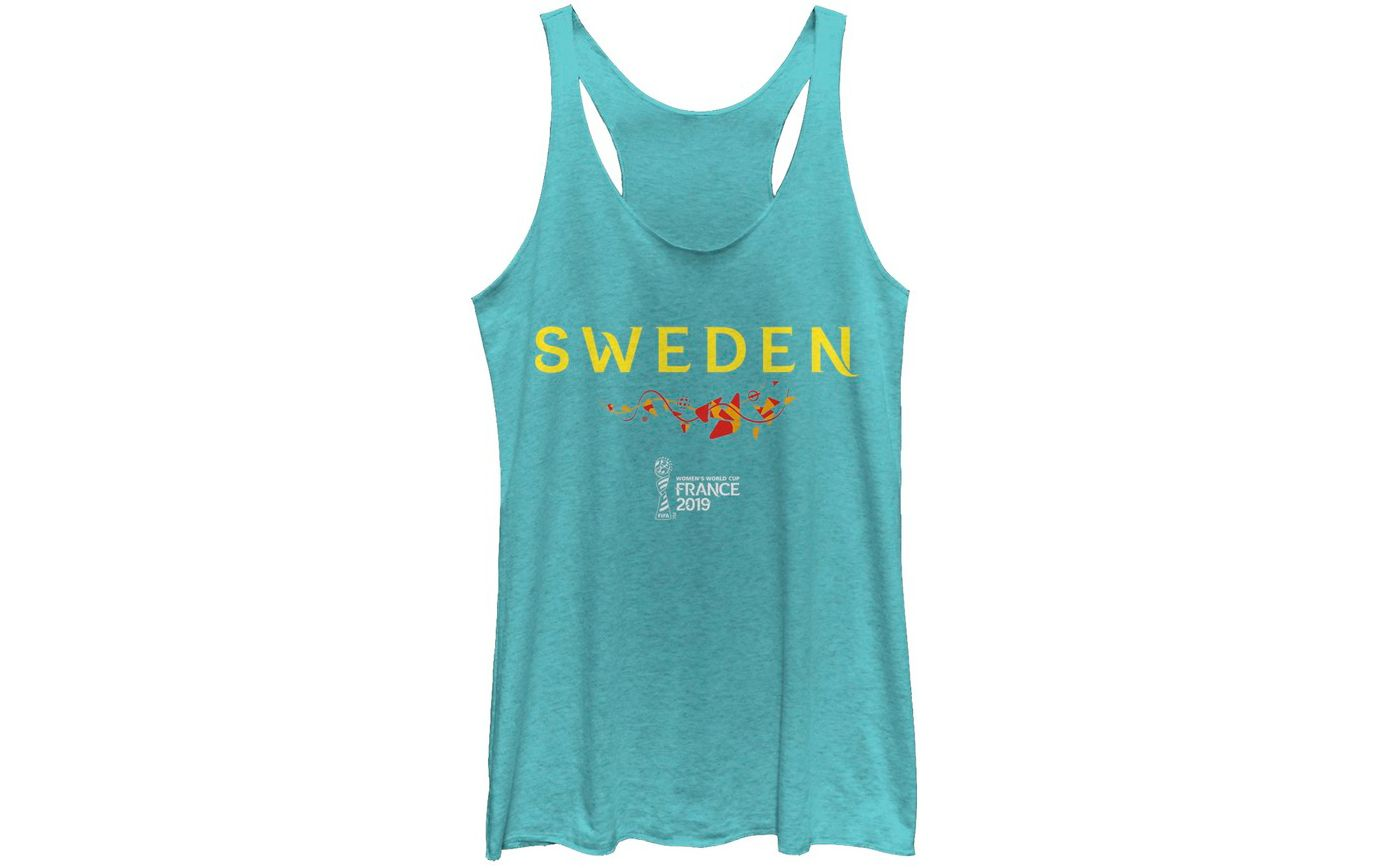 Fifth Sun Women's 2019 Women's FIFA World Cup Sweden Graphic Blue Racerback Tank Top