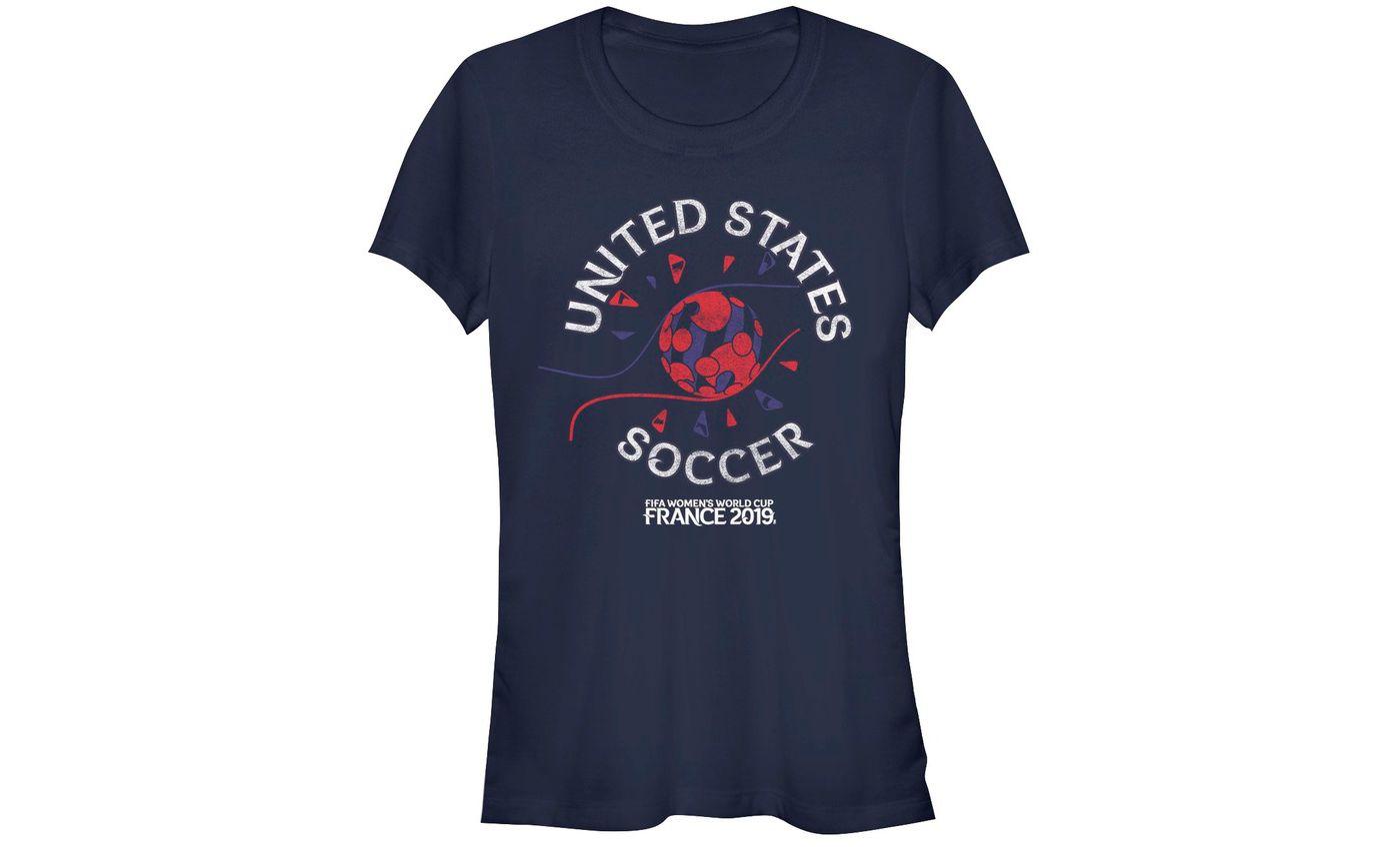 Fifth Sun Women's 2019 Women's FIFA World Cup USA Soccer Flag Ball Navy T-Shirt