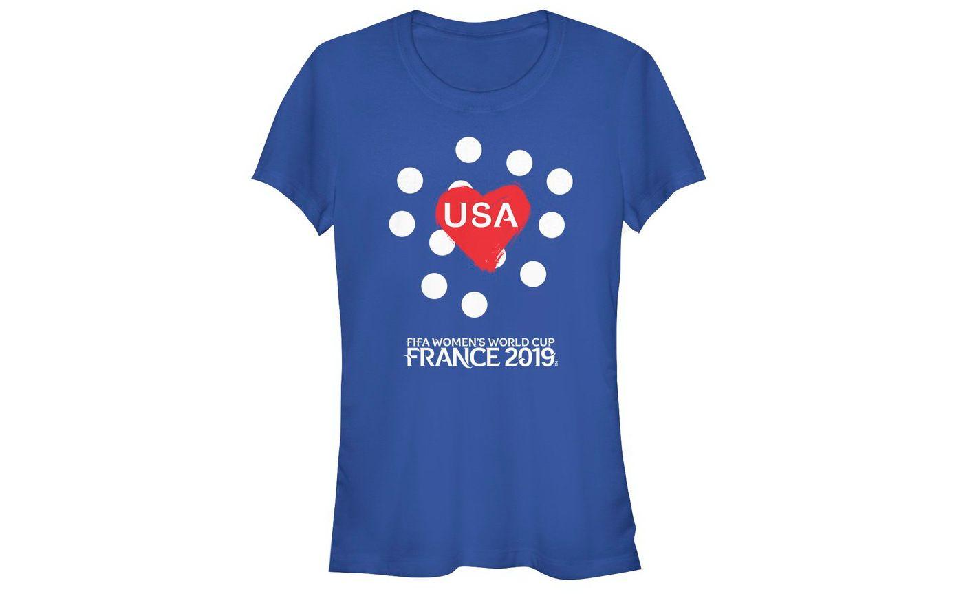 Fifth Sun Women's 2019 Women's FIFA World Cup USA Soccer Hearts Royal T-Shirt