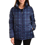 Kendall+Kylie Women's Plaid Puffer Jacket