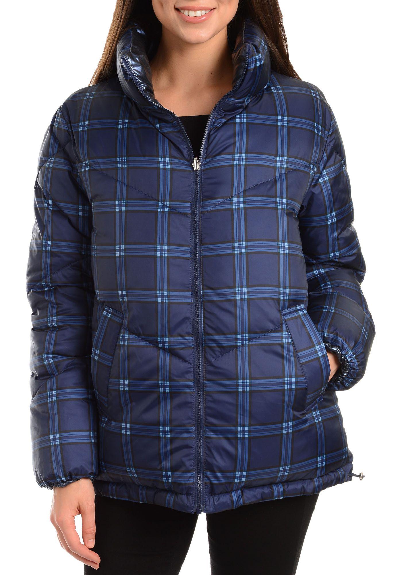 Kendall+Kylie Women's Plaid Puffer Jacket