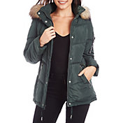 Kendall+Kylie Women's Fur Hooded Puffer Jacket