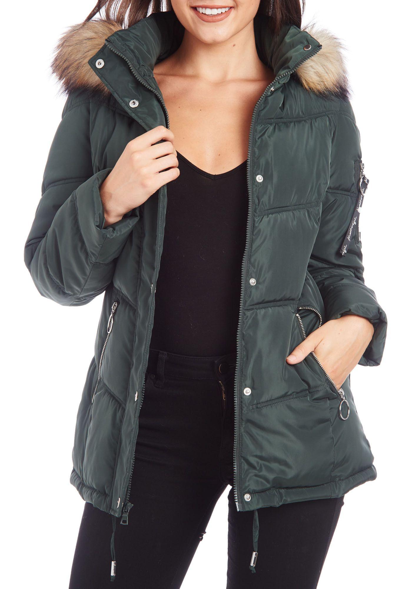 Kendall+Kylie Women's Fur Hooded Puffer Jacket