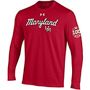 Under Armour Men's Maryland Terrapins Red '100 Seasons' Performance Cotton Long Sleeve Basketball T-Shirt