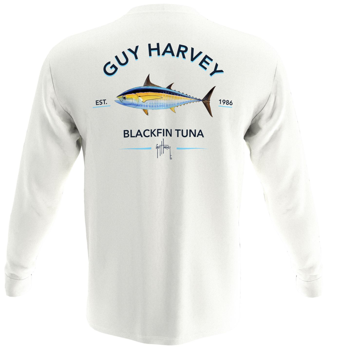 Guy Harvey Men's Blackfin Tuna Pocket Long Sleeve T-Shirt