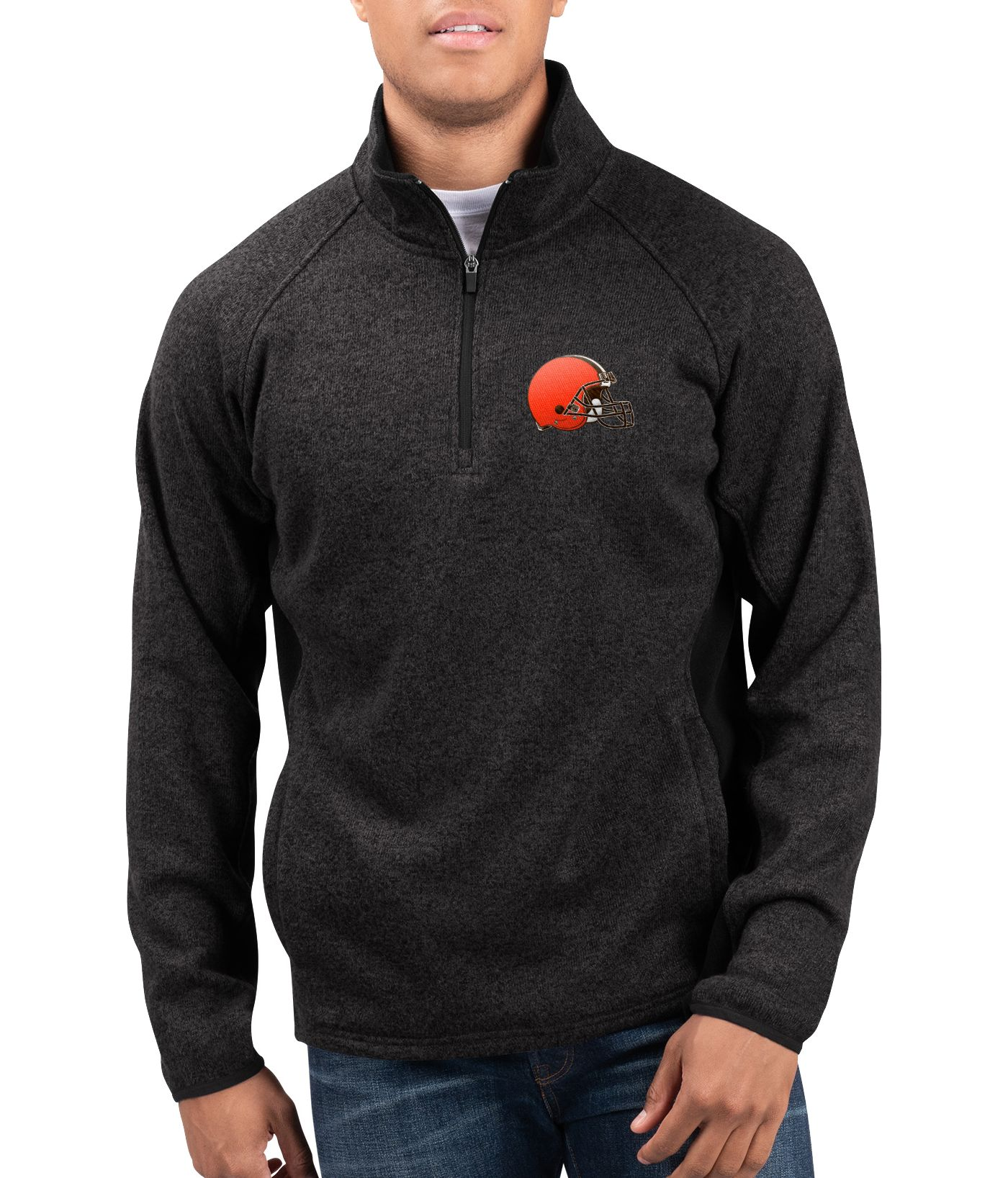 G-III Men's Cleveland Browns Centerfold Half-Zip Black Jacket