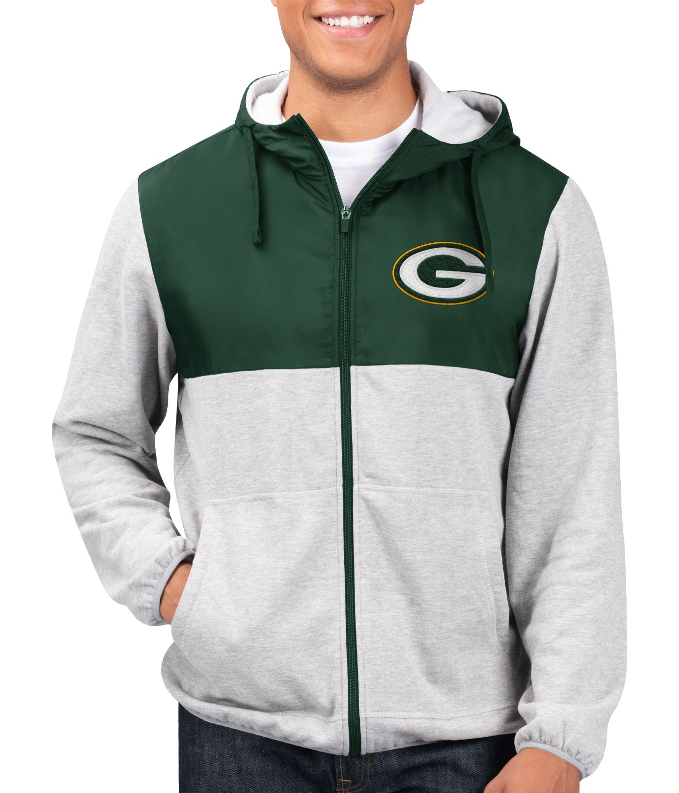 G-III Men's Green Bay Packers Intermission Full-Zip Grey Jacket