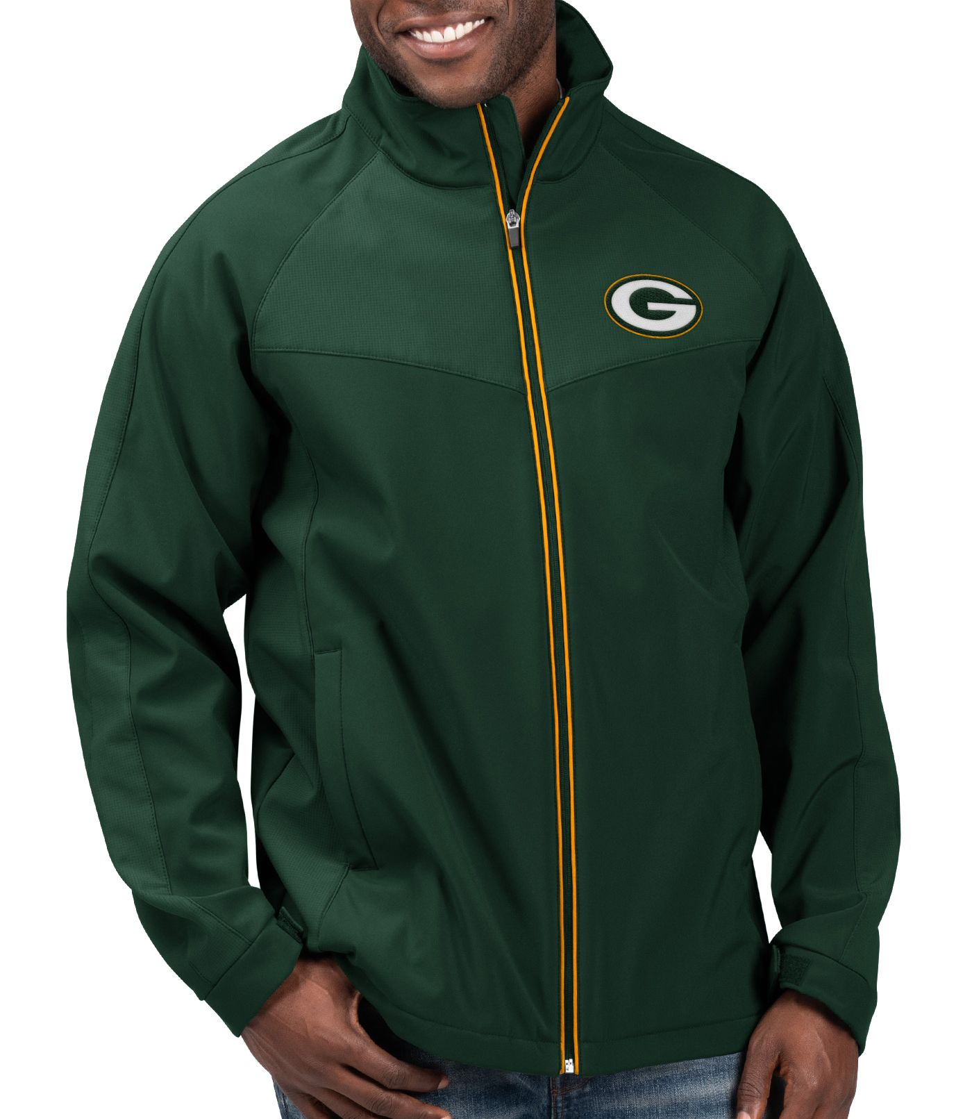 G-III Men's Green Bay Packers Warning Track Full-Zip Green Jacket