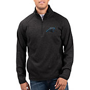 G-III Men's Carolina Panthers Centerfold Half-Zip Black Jacket