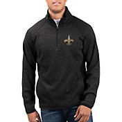 G-III Men's New Orleans Saints Centerfold Half-Zip Black Jacket